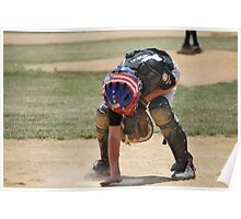 catcher cleans plate Poster