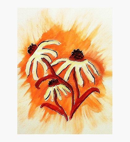 3 big head daisies, orange backround, watercolor Photographic Print