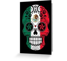 Sugar Skull with Roses and Flag of Mexico Greeting Card