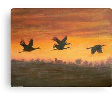 migration at sunset Canvas Print