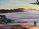 Carmel Peachy Sunset Painting by Sandra Gray