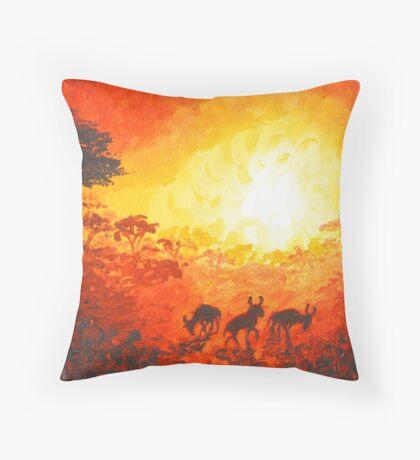 "Wildebeest at Sunset 5 x 5"" Throw Pillow"