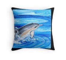 Vaulting Dolphin Throw Pillow
