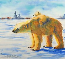 Polar Bear Momma and Baby by edenmiller