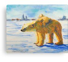 Polar Bear Momma and Baby Canvas Print