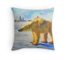 Polar Bear Momma and Baby Throw Pillow