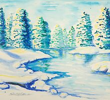 Winter River with Snow-laden Evergreens by edenmiller