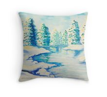 Winter River with Snow-laden Evergreens Throw Pillow