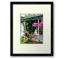 Hanging Baskets and Climbing Roses Framed Print
