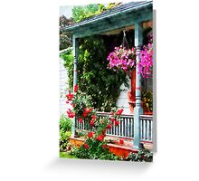Hanging Baskets and Climbing Roses Greeting Card