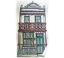 Victorian Terrace house, Melbourne, Australia. ©  Pen and wash on fabric. Poster