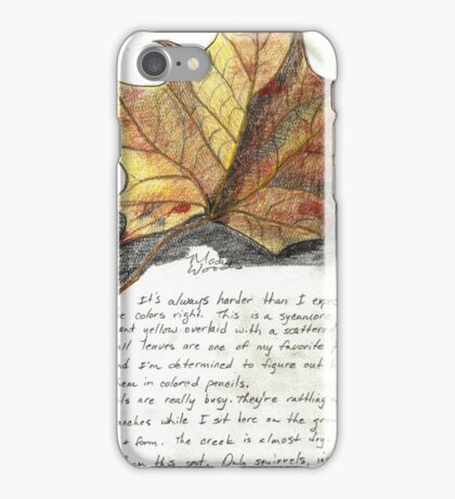Nature Sketching Day 3- Yellow Sycamore Leaf iPhone Case/Skin