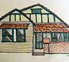 Californian bungalow. Melbourne, Australia. Pen and wash on fabric. by Elizabeth Moore Golding