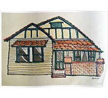 Californian bungalow. Melbourne, Australia. Pen and wash on fabric. Poster