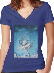 Winter dancer Women's Fitted V-Neck T-Shirt