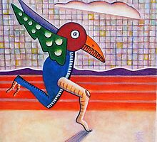 The Running Bird (acrylic) by Charles  Jones