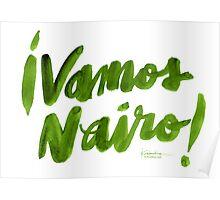 Vamos Nairo! Bold Brush Script in Movistar Green Poster
