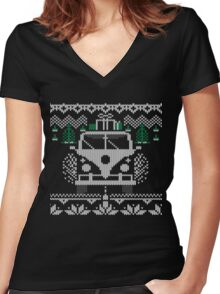 Vintage Retro Camper Van Sweater Knit Style Women's Fitted V-Neck T-Shirt
