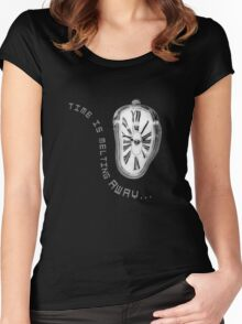 Salvador Dali Inspired Melting Clock. Time is melting away. Women's Fitted Scoop T-Shirt
