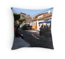 Life in the old part of Puerto Vallarta Throw Pillow