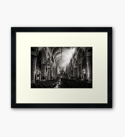 Inside Exeter cathedral in BW Framed Print
