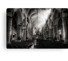 Inside Exeter cathedral in BW Canvas Print