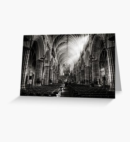 Inside Exeter cathedral in BW Greeting Card