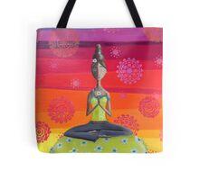 Zen Girl Under Rainbow Sky - Colorful Yoga Art Tote Bag