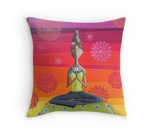 Zen Girl Under Rainbow Sky - Colorful Yoga Art Throw Pillow