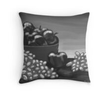 Apples & Grapes B&W Throw Pillow