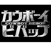 Cowboy Bebop Watercolor Logo White on Black Photographic Print