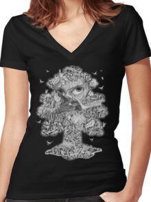 Heliotroped with Tattoo and Guest Poet - Tree'd and Butterflied Women's Fitted V-Neck T-Shirt