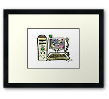 Too Cute PC with Tower Framed Print