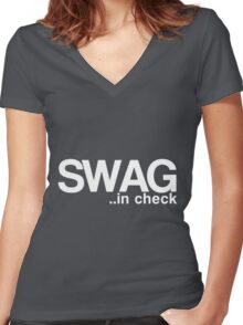 SWAG..in check Women's Fitted V-Neck T-Shirt