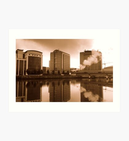 Belfast waterfront and steam train Art Print