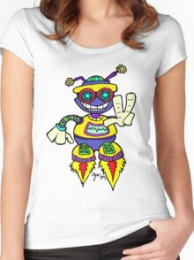 Too Cute Peace Robot Peace Women's Fitted Scoop T-Shirt