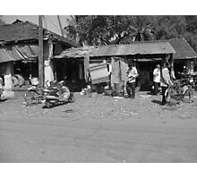 Marketplace in Candolim, Goa, India selling fruit and fish Photographic Print