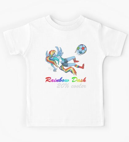 20% Cooler, Rainbow Dash Playing Soccer Kids Tee