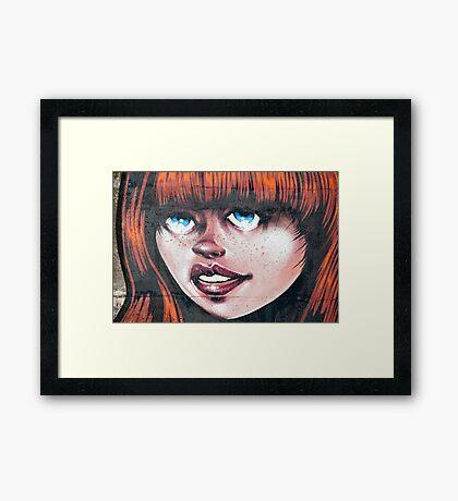 Blue Eyes - Red Hair Girl Framed Print