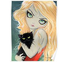 Big Eye Blonde Girl with Black Cat by Molly Harrison Poster