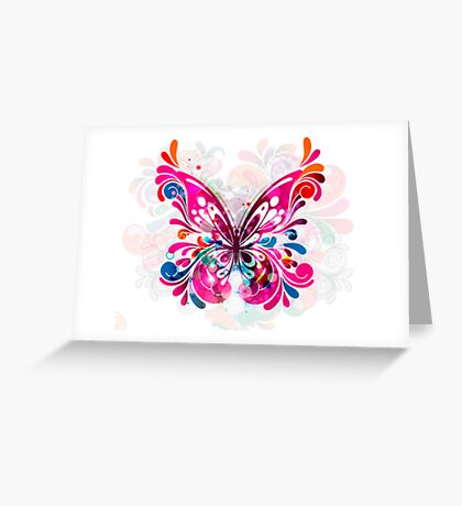 Abstract Butterfly in Blues, Pinks and Purples Greeting Card