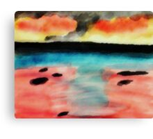 Abstract seascape, watercolor Canvas Print