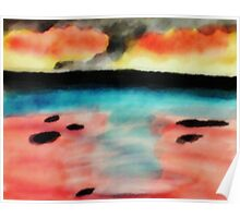Abstract seascape, watercolor Poster