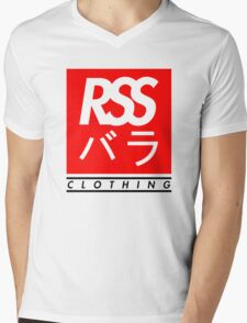 RSS バラ CLOTHING (BLACK TEXT) Mens V-Neck T-Shirt