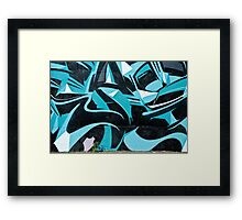 Abstract Blue Graffiti Framed Print