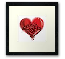 Zebras in Love Framed Print