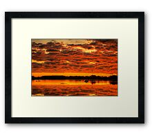 Clouds reflected brilliantly at Rivoli Wetlands, Beachport Framed Print