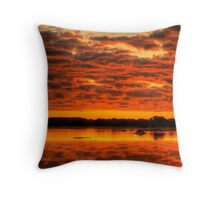 Clouds reflected brilliantly at Rivoli Wetlands, Beachport Throw Pillow
