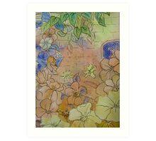 Floral Watercolour Collage 7  Art Print