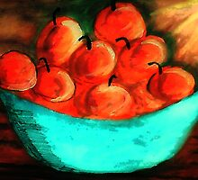 Bowl of Apples #2, watercolor by Anna  Lewis